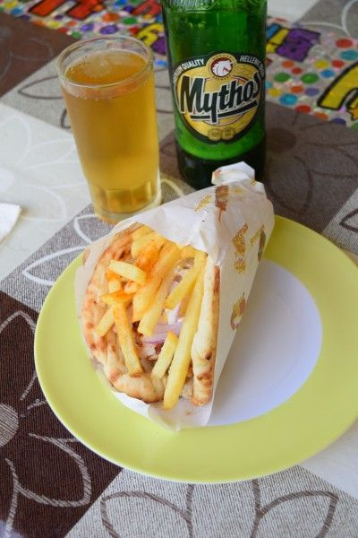 Gyros and Mythos in Keri, ZAkynthos. What a place.