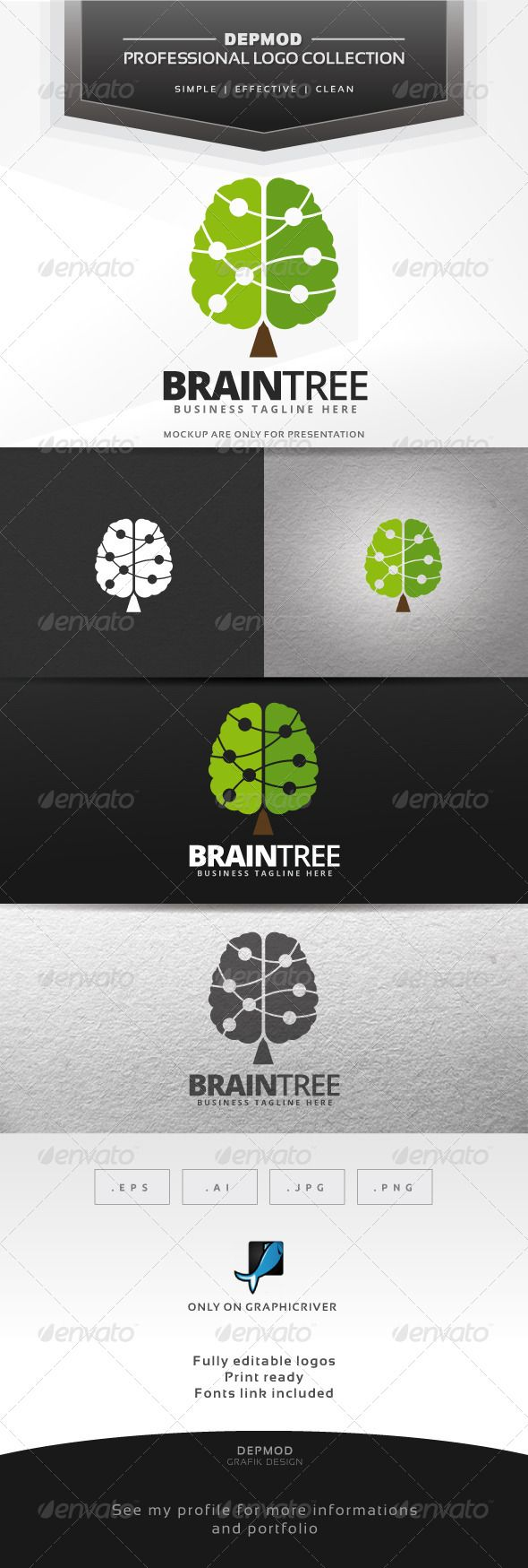 Brain Tree - Logo Design Template Vector #logotype Download it here: http://graphicriver.net/item/brain-tree-logo/7645863?s_rank=1604?ref=nesto