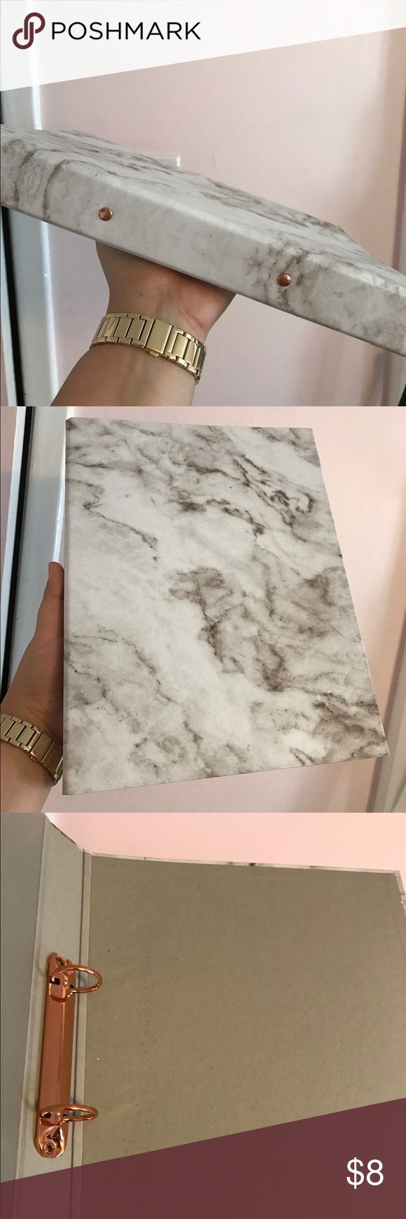 Marble Print and Rose Gold Stationary Binder Classy and trendy marble print stationary binder with adorable rose gold clips on the inside! Never been used! A cute addition for a graduation gift for gals going off to college or finishing college! Add a monogram, sticker, or even keep it plain. You're guaranteed to have the best looking school supplies in class with this one. Other