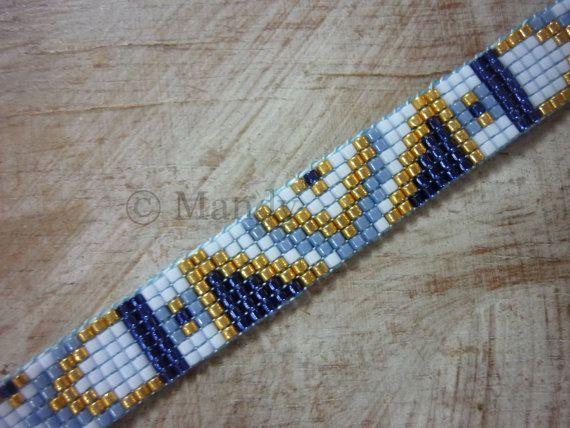 Miyuki bracelet hand-woven beaded bracelet blue by MadeByMandyNL