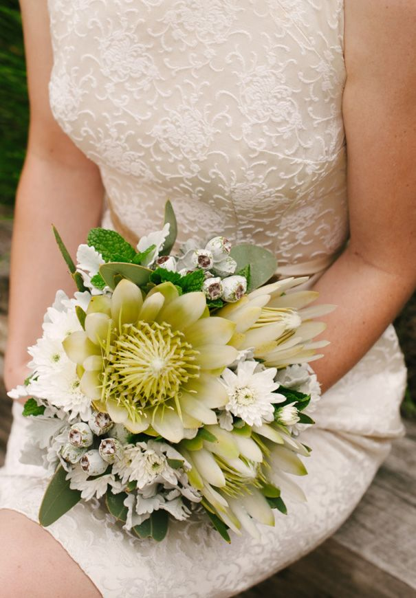 Cream and white bouquet of Australian native and south African flowers #leucadendron