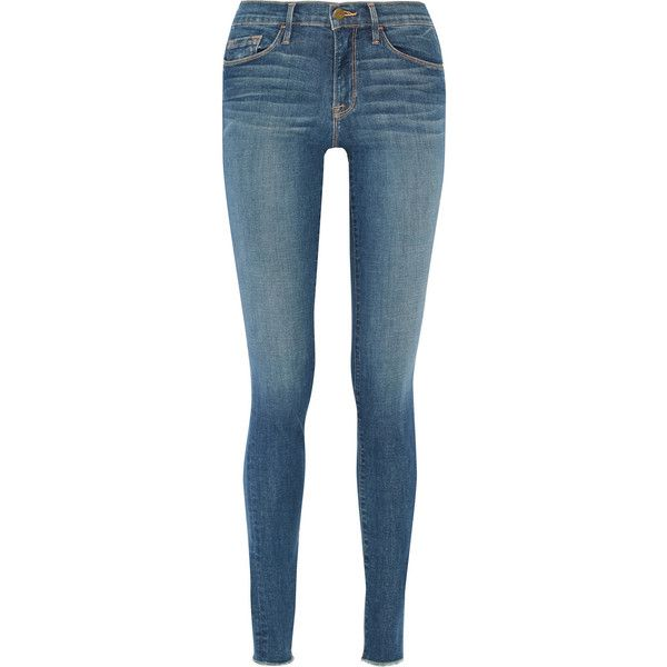 Frame Forever Karlie mid-rise skinny jeans ($180) ❤ liked on Polyvore featuring jeans, pants, bottoms, calça, pants and shorts, blue, cuffed jeans, skinny leg jeans, blue jeans and faded blue skinny jeans