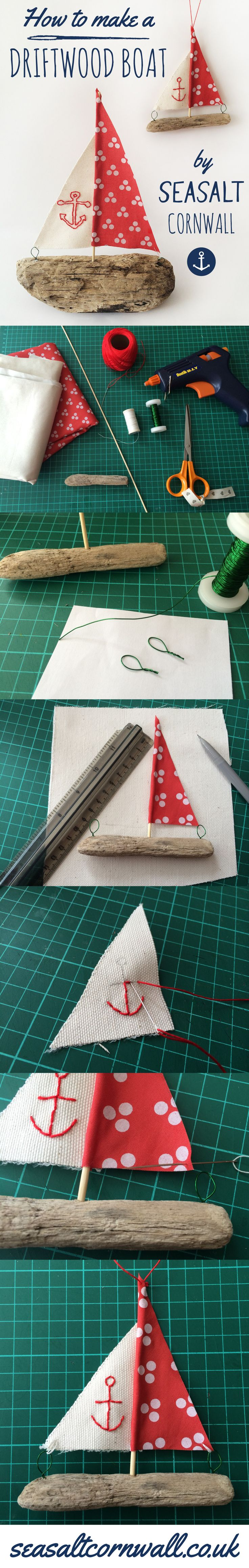 How to make a super nautical driftwood boat decoration by the Seasalt window team. Read full instructions on our blog: https://www.seasaltcornwall.co.uk/blog/11/2014/how-to-make-a-driftwood-boat/