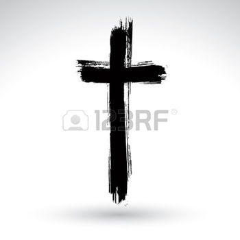 christian cross: Hand drawn black grunge cross icon, simple Christian cross sign, hand-painted cross symbol created with real ink brush isolated on white background.