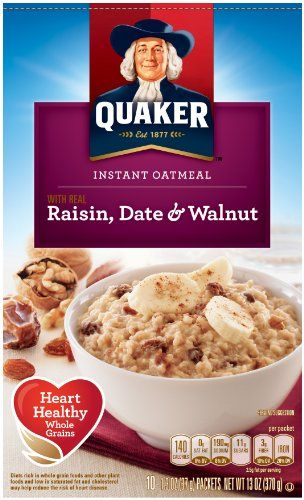 $10.36 - Quaker Instant Oatmeal Raisin Date  Walnut Breakfast Cereal 10-13oz Packets Per Box Pack of 4