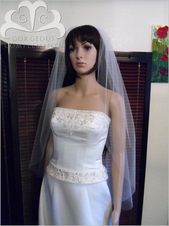 Wedding Veil Fingertip Length Single Tier by GorgeousComplements2, $35.00