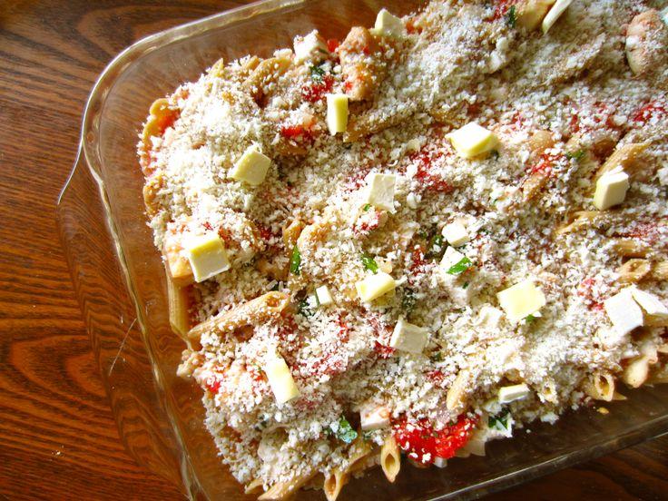 Baked Pasta with Chicken, Tomato, Basil, & Mozzarella - Ambrosia & Nectar
