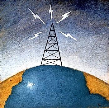 radio tower sending radio waves signals the world...