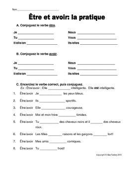 Etre et avoir worksheet   French worksheets. Free french lessons