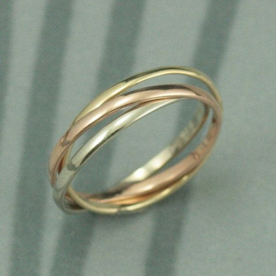 Solid 14K Tri Color Rolling RingRose White and Yellow by debblazer, $245.00