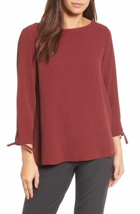 ce4482012682fc Eileen Fisher Silk Tie Sleeve Blouse (Regular & Petite) | 60's ...