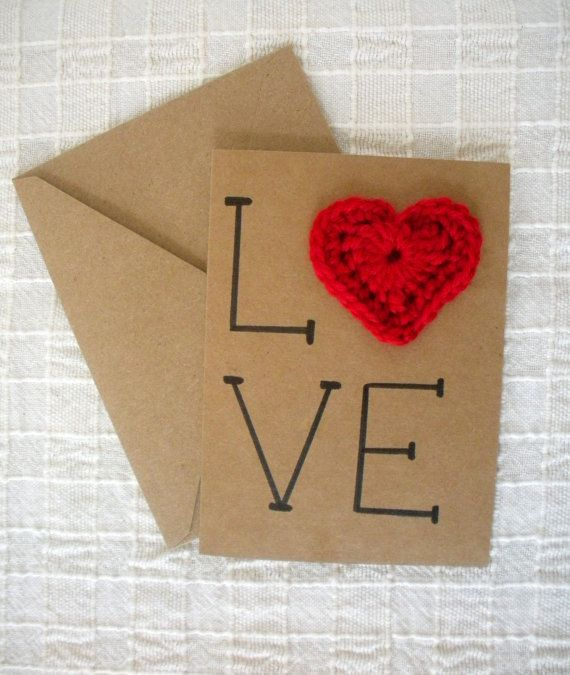 Items similar to Valentine's Day Card Love with Crochet Heart Card on Etsy