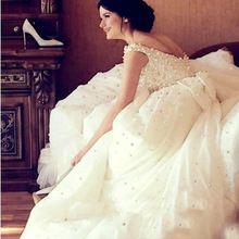 Саудовская аравия кружева свадебное платье бальное платье принцесса жемчуг квадратный воротник халат де mariage vestido noiva 2016 louisvuigon с бантом(China (Mainland))