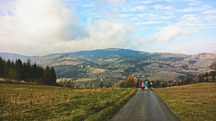 Mountains, road, blue sky, trip, Beskidy, Poland