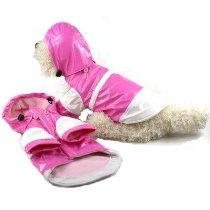 """Two Tone Dog Raincoat with Removable Hood in Pink and White Size: Small (10"""" L)"""