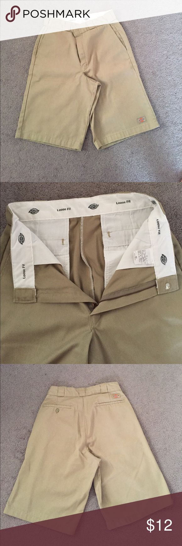 DICKIES mens khaki shorts Mens khaki shorts. Loose fit. Great condition. Worn only a few times. Dickies Shorts Flat Front