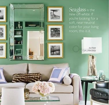 Sea glass walls for a coastal cottage family room for Sea green bedroom designs