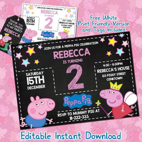 Peppa Pig Invitation Download Birthday Party Invites
