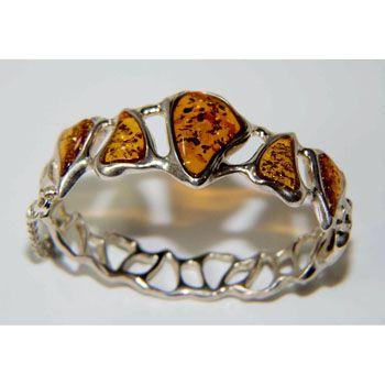 Sterling Silver Cognac Baltic Amber Bangle Bracelet