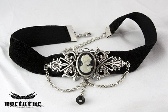 Cameo Gothic Choker - Black Velvet with Silver Centerpiece and Chains - Victorian Gothic Jewelry on Etsy, $39.47