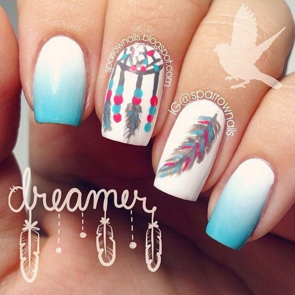 Mint Green and White Nail Design with Dreamcatcher and Feather. Very pretty!