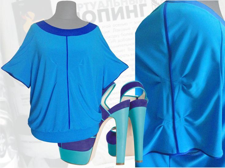 31$ Трикотажная синяя блузка для полных женщин с рукавами реглан и с защипами на груди и рукавах Артикул 688, р50-64 Блузки свободного кроя большие размеры Трикотажные блузки большие размеры  Блузки нарядные большие размеры  Блузки дизайнерские большие размеры  Блузки с коротим рукавом большие размеры