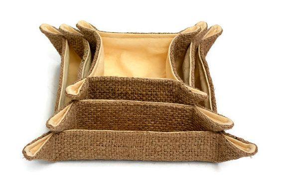 Hessian Storage Trays. Set of 3. Handmade using 100% by JuteAlors