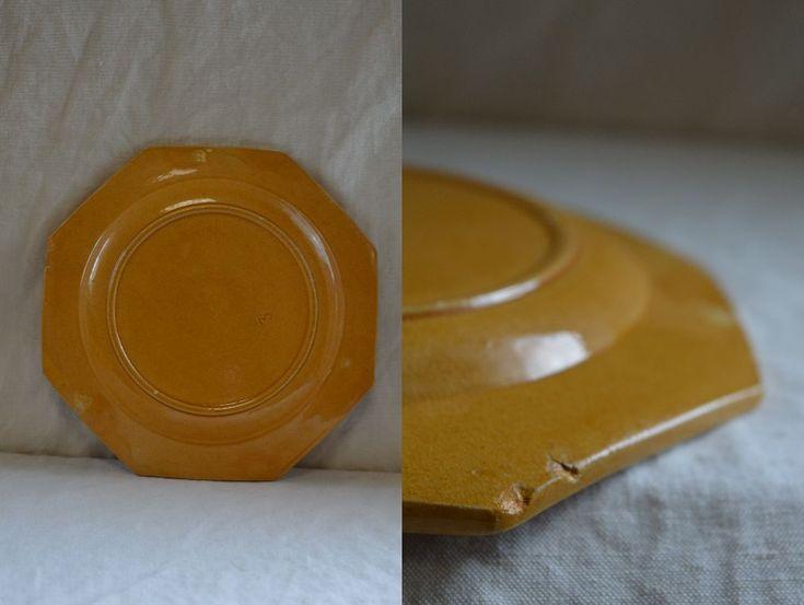 南仏アンティーク ピション窯のオクトゴナルデセール皿 4枚揃い_画像3
