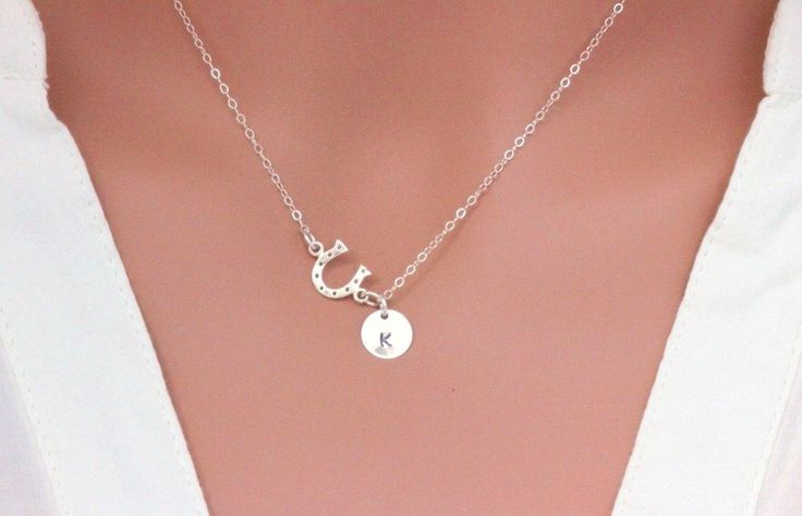 Sterling Silver Horseshoe. Personalized Horseshoe Necklace, Initials Horseshoe  Necklace, horseshoe Charm Jewelry, Sideways Horseshoe by rainbowearring on Etsy https://www.etsy.com/listing/255294977/sterling-silver-horseshoe-personalized