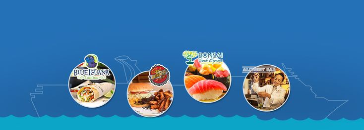 soft taco, BlueIguana Cantina logo, a burger from guy's burger joint, guy's burger joint logo, a sashimi roll, Bonsai Sushi Express logo, a bartender mixing a drink, Alchemy Bar logo on top of Carnival Fascination outline