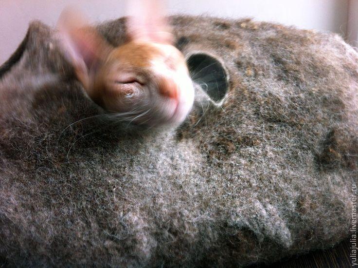 """Купить Домик для кошки """"Кроличья нора"""" - серый, домик для кошки, натуральная шерсть, серо-коричневый"""