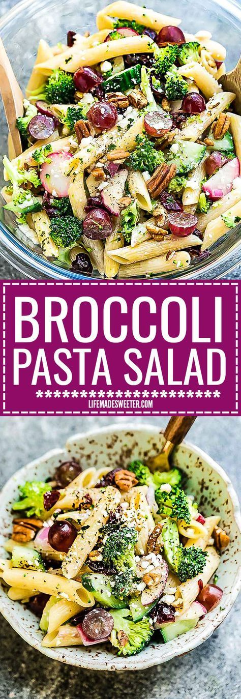 This Broccoli Pasta Salad Meal Prep bowl is the perfect side dish for Memorial Day, Fourth of July and all your weekend barbecues, cookouts, grillouts, potlucks and picnics. Best of all, so easy to make and leftovers are delicious for school or work lunchboxes or lunch bowls. Loaded with broccoli, penne, grapes, pecans and dried cranberries.