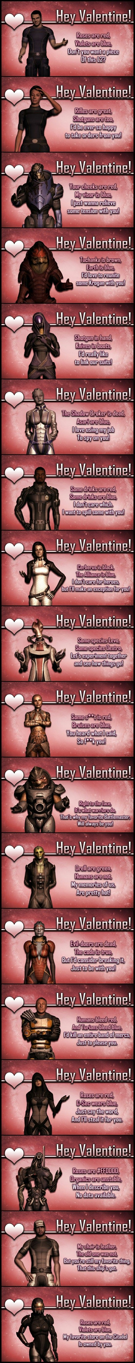 Mass Effect Valentines - Roses are red, Violets are blue. My favorite store on the Citadel is owned by you.