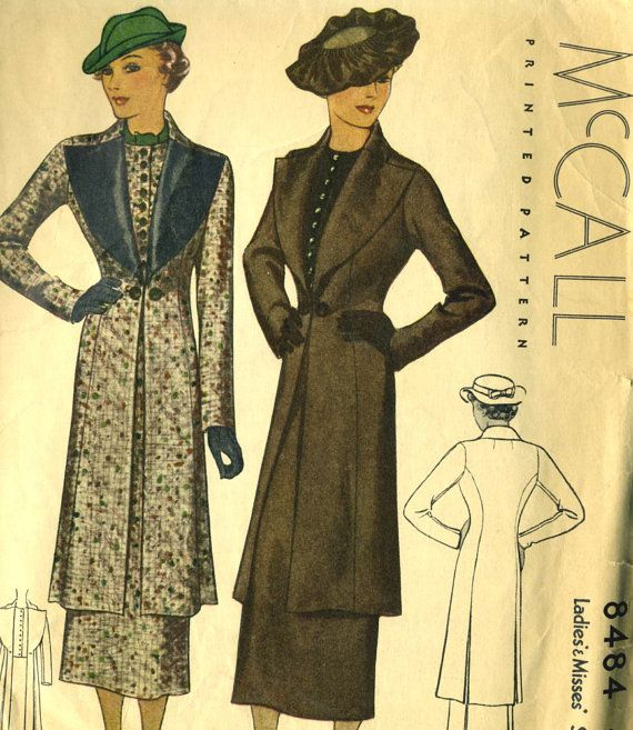 Vintage 30s McCall 8484 Rare Ladies Long Coat, Vest and Straight Skirt Sewing Pattern Size 16 Bust 34