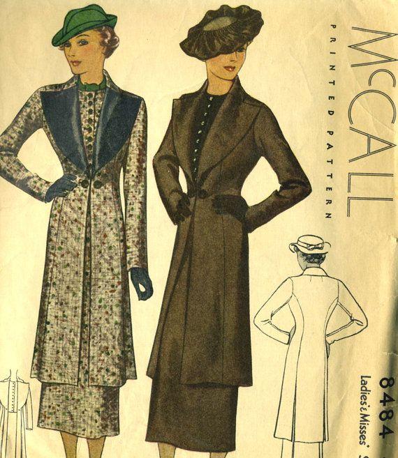 Vintage 30s McCall 8484 Rare Ladies Long Coat Vest by RomasMaison