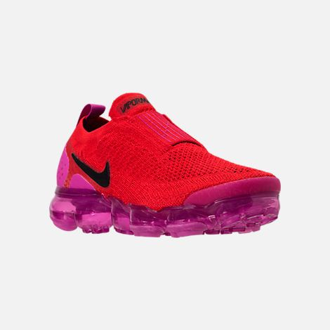 2a9d4de89a7 Three Quarter view of Women s Nike Air VaporMax Flyknit MOC 2 Running Shoes  in University Red Black Fuchsia Blast