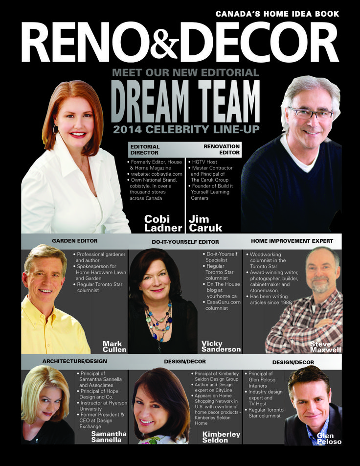 RENO&DECOR print advertisement promoting Celebrity Editorial Dream Team. See more about at renoanddecor.com