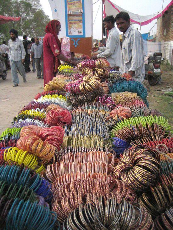 "INDIA :  bangles for sale at the ""Vaisakhi Mela' in Jalandhar, Punjab, India."