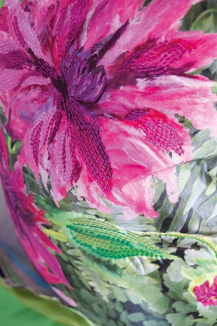 Designers Guild Samira fuchsia cushion in detail