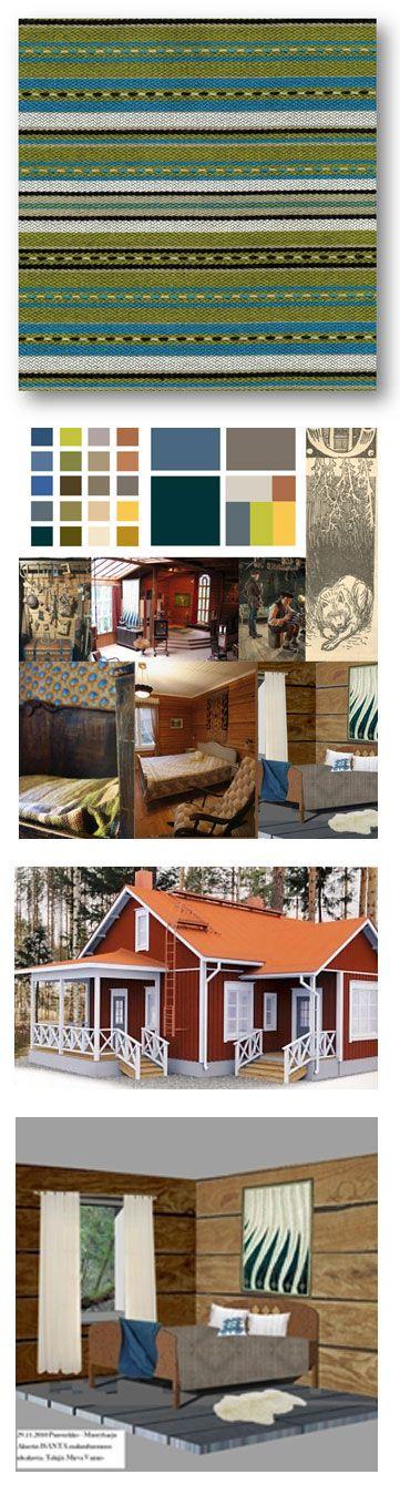 Lomamökkien tekstiilit Puuverkko Oy:lle:  Sisustustekstiilit lomamökkeihin Mäntyharjun loma-asuntomessuille. Sisustustekstiilien suunnittelu , valmistus ja valmistuttaminen:  verhot, tyynyt, matot, vuode- seinä- ja kattaustekstiilit // Tilaaja/Client: Hämeen Puuverkko Oy // Suunnittelija/Designer: Tekstiilin ATE08 ja ATE07 -opiskelijat, 2011 // Yhteistyökumppanit/Partners: Printscorpio, Arazzo, Lipputuote Torpo, T:mi Markit Sokka, Hämeen Kaihdin