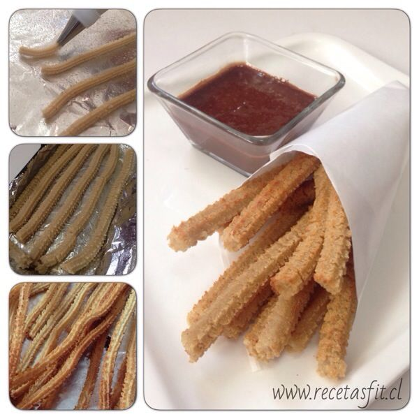 Churros al horno de quinoa. www.recetasfit.cl   #recetasfit #recetasfitness #light #dieta #glutenfree #singluten #quinoa #churros