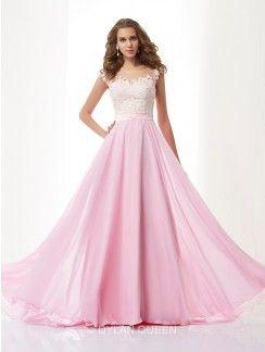 A-Line/Princess Straps Sleeveless Applique Sweep/Brush Train Chiffon Dress With Beading