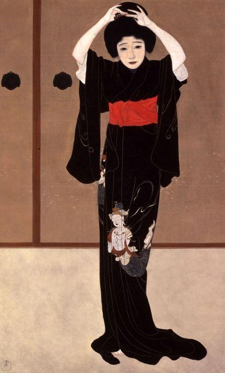 Kitano Tsunetomi 北野恒富 (1880-1947) Kagami no zen 鏡の前 (Front of the mirror) - Folding screen - 1915