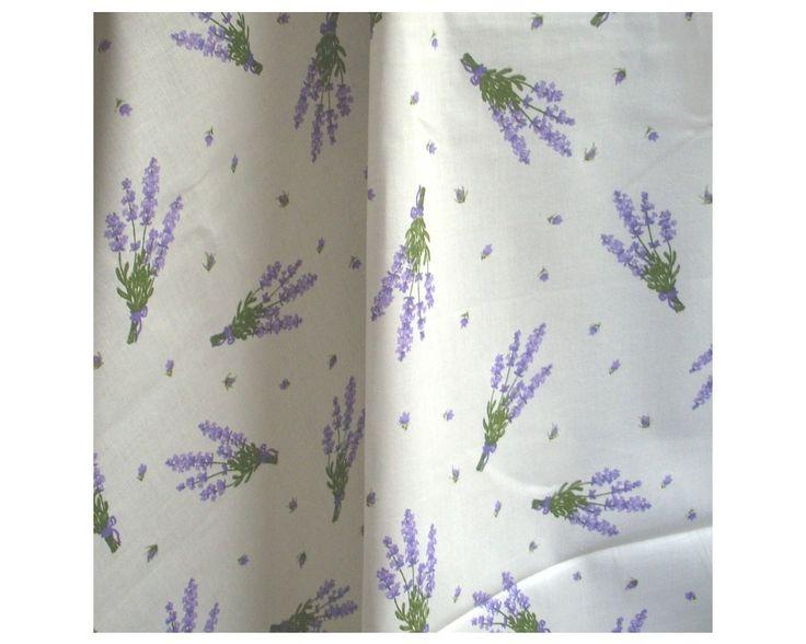 Levendula mintás pamut vászon, fehér alapon