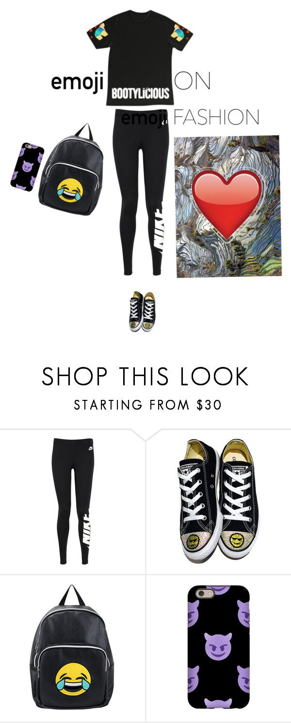 """""""👍🏻👍🏿👍👍🏼👍🏽👍🏾universal"""" by lolla-cher ❤ liked on Polyvore featuring NIKE, Converse, Olivia Miller, National Geographic Home and emojifashion"""