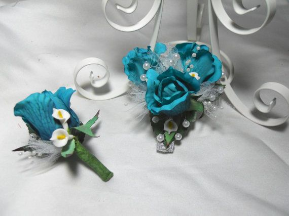 Blue Prom Corsage And Boutonniere Set With by TheWeddingPetal, $28.50