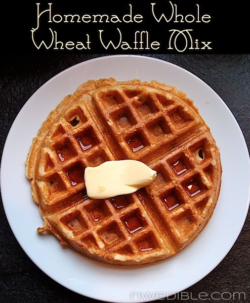Homemade Whole Wheat Waffle Mix Recipe at NW Edible: in blender pulse 1.5 cup whole wheat flour, .5 cup thick-cut oats, 1tsp kosher salt, 1 tsp baking soda, 1.5 tsp baking powder, 2 tbl brown sugar. (can store in freezer for up to 3 months) Whisk 1.5 cups plain yogurt, 3 large eggs and 4 tbl melted butter. Add flour mixture and stir till just combined. Let batter rest. Cook in iron. Makes abt 6.