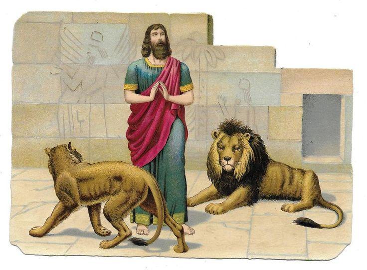 Victorian Die Cut Scrap Daniel in the Lions  Den: