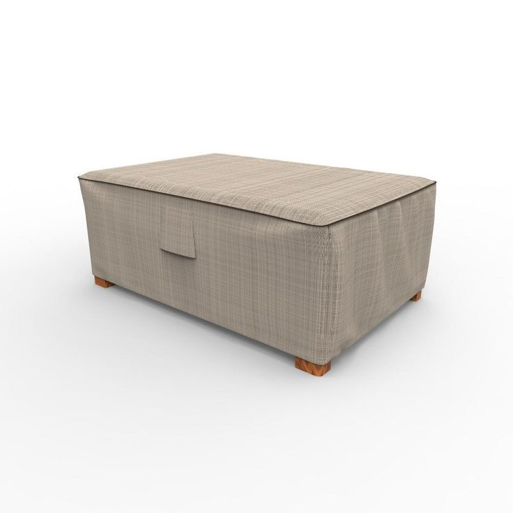 Budge English Garden 18 in. H x 33 in. W x 25 in. L Tan Tweed Outdoor Ottoman Cover, Brown