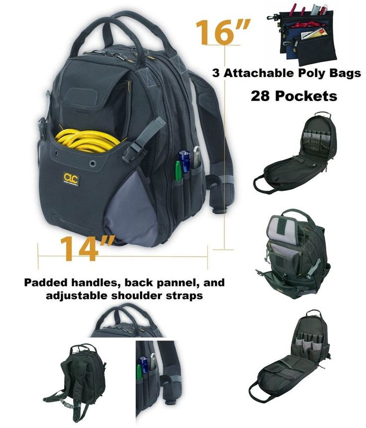 Tool Backpack Organizer Internal External 3 Poly Bags Technology Cordless Tools #Unbranded
